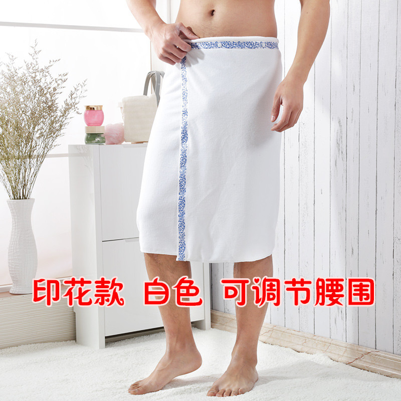 Plain-Colored Men's Bath Towel with Hem Print in Various Colors for Weekend Getaways