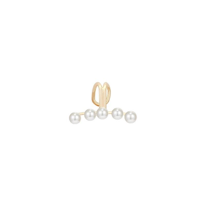 Fancy Golden Hue Copper Artificial Pearl Beads Ear Clip Earrings for Modernistic Styles