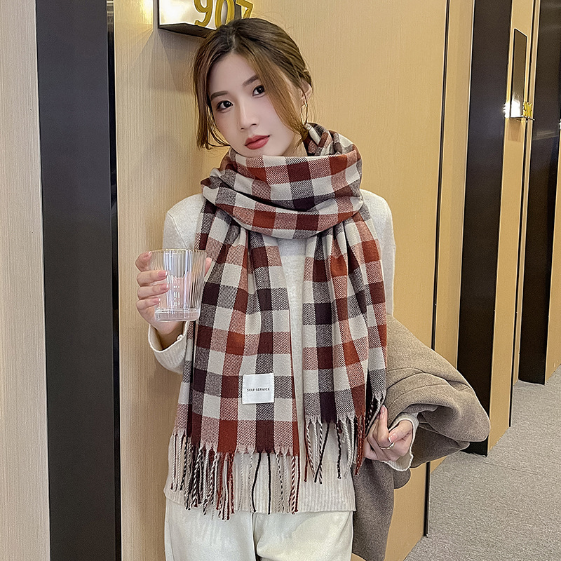 Unisex Plaid Neck Scarf for Daily Use During Winter Season