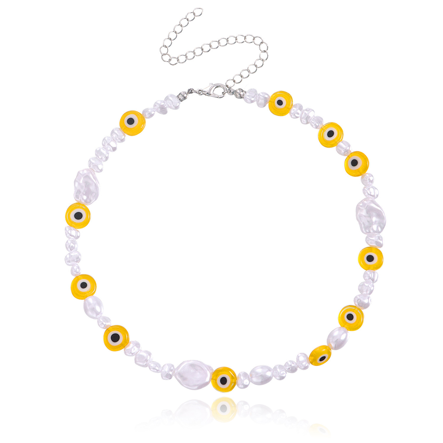 Stylish Irregular Faux Pearl Eye Necklace for Funky Summer Party Looks