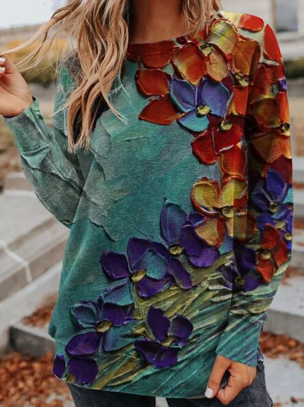 Fashionable Floral Printed Pullover Sweater for Spring Attire