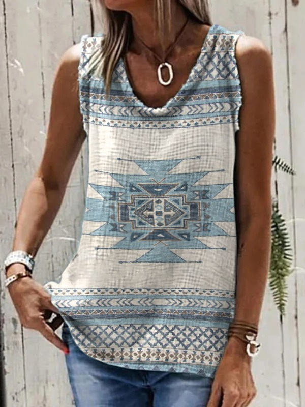 Aesthetic Aztec Print Tank Top for Casual Outerwear