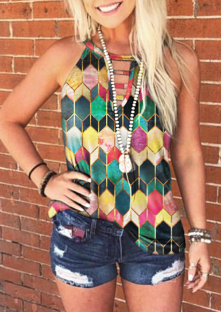 Colorful Pattern Sleeveless Shirt for Casual Wear