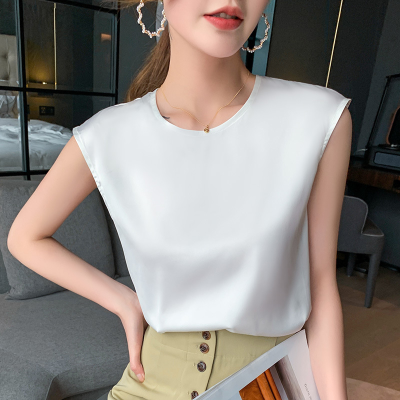 Classy Sleeveless Silk Top for Stylish Layered Office Outfits