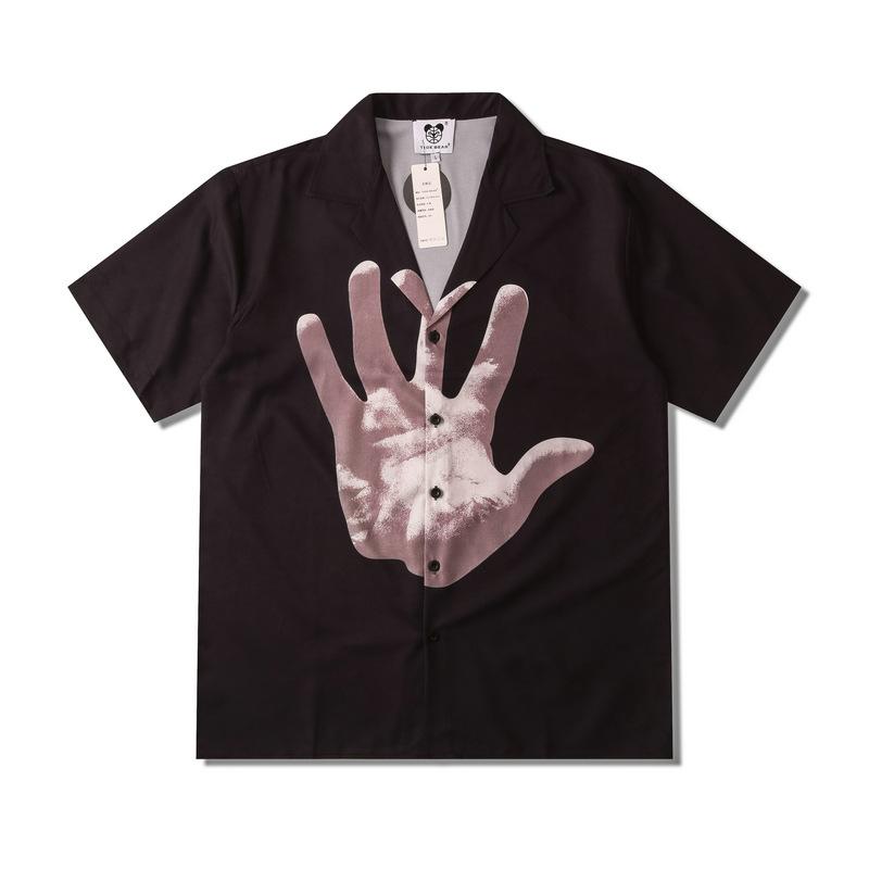 Cute Palm Print Short Sleeve Shirt for Street Fashion
