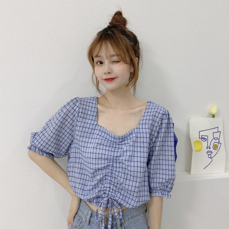 Pretty Korean Style Square Neckline Drawstring Cropped Plaid Top with Puff Sleeves for Summer Getaways