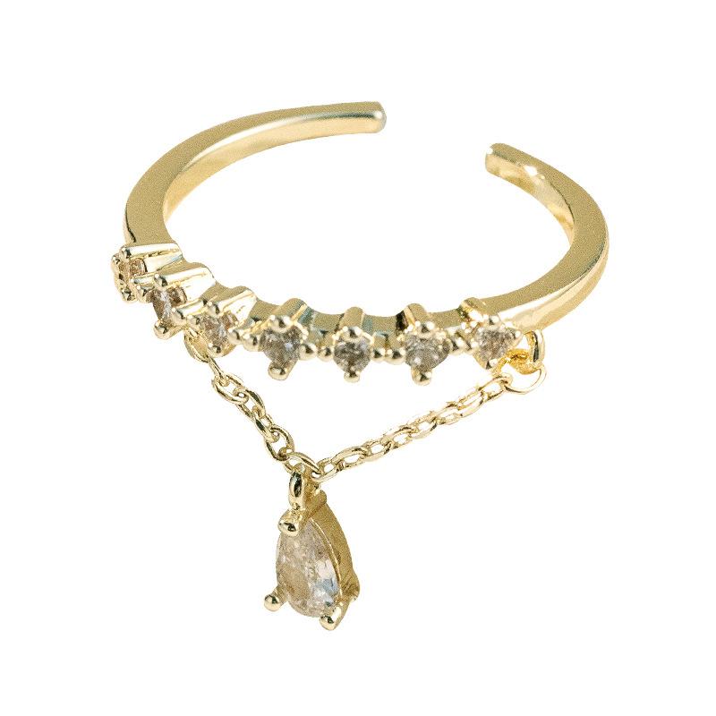 Lavish Zircon Chain Open Ring for Glamorous Events