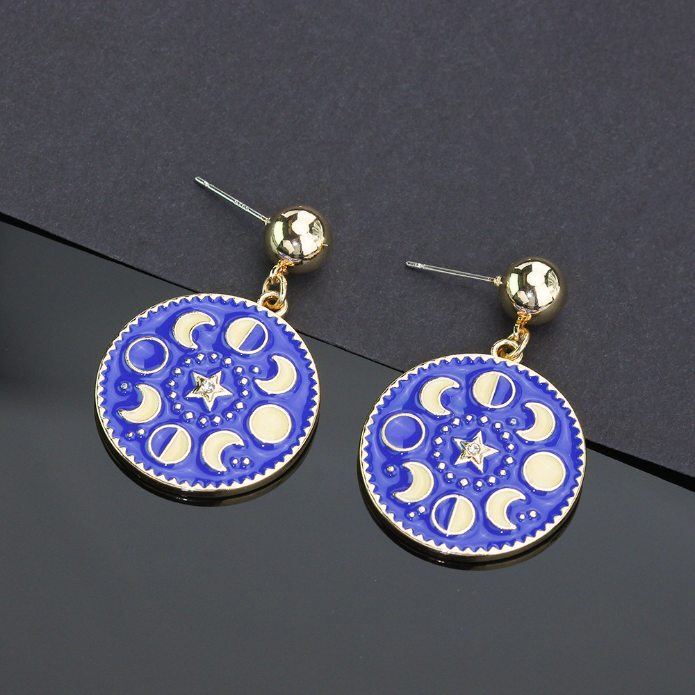 Classy Creative Embossed Moon and Star Earrings for Any Occasion
