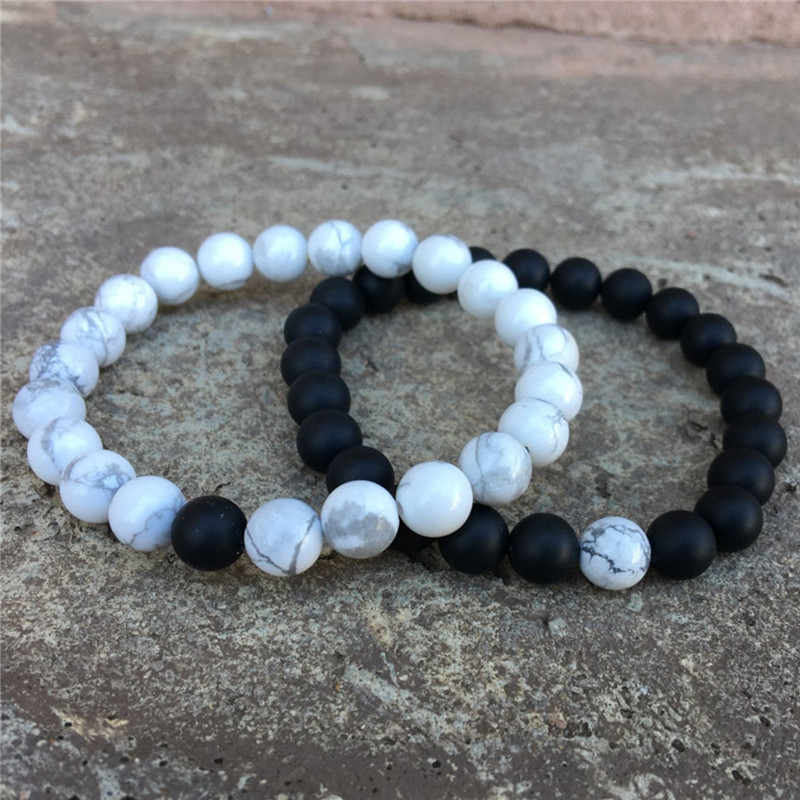 Black Frosted and White Turquoise Bracelet for Couples