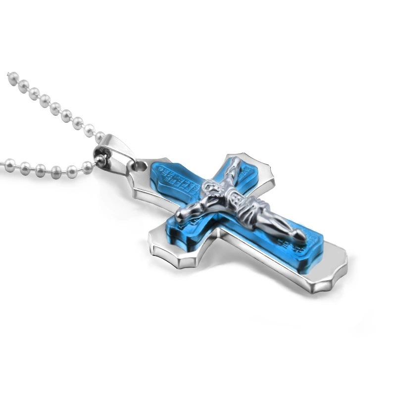 Stainless and Cool Looking Dark Knight Designed Cross Pendant for Men's Fashionable Accessories