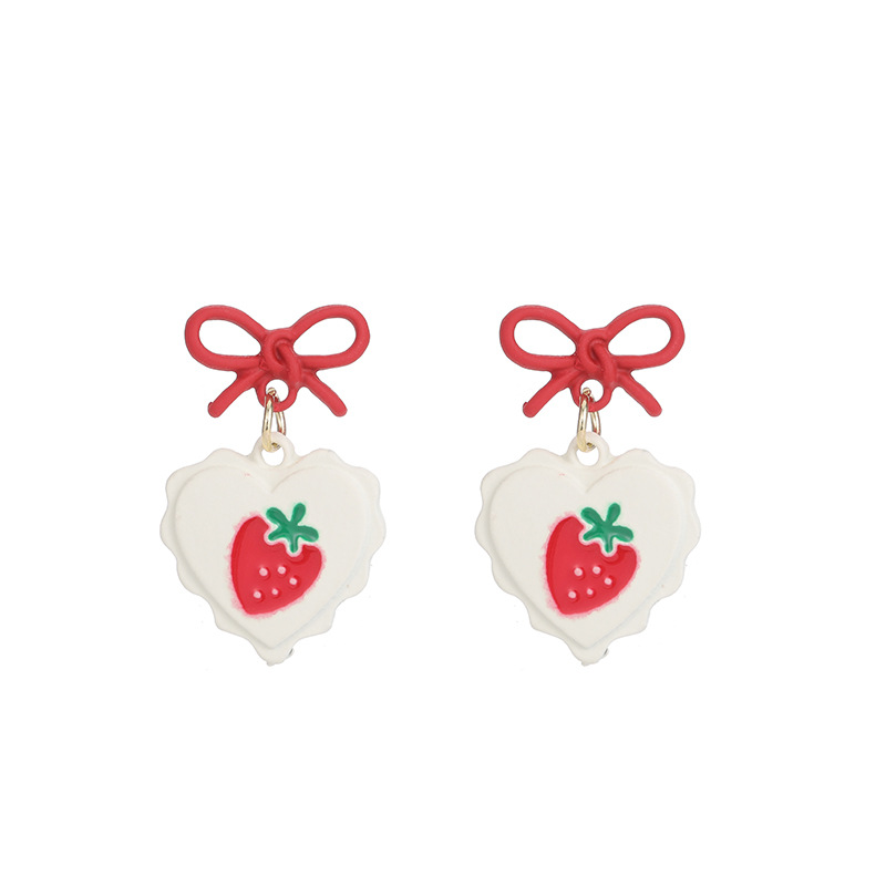 Adorned Ribbon and Heart-Shaped Earrings with Strawberry Print for Fruit Picking Date