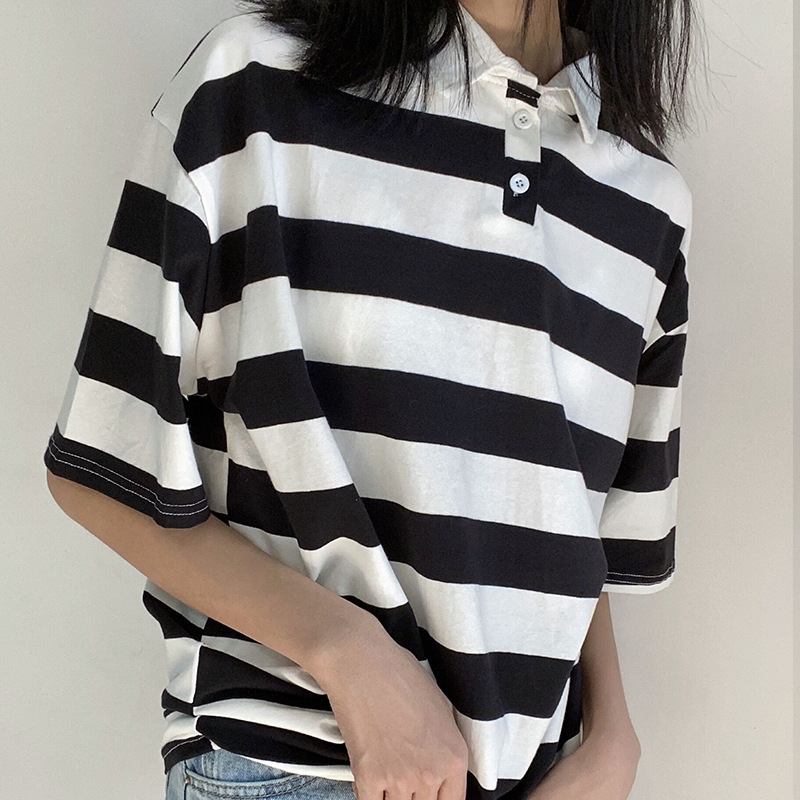 Awning Stripe Loose Fit Polo for Women's Contemporary Outfits