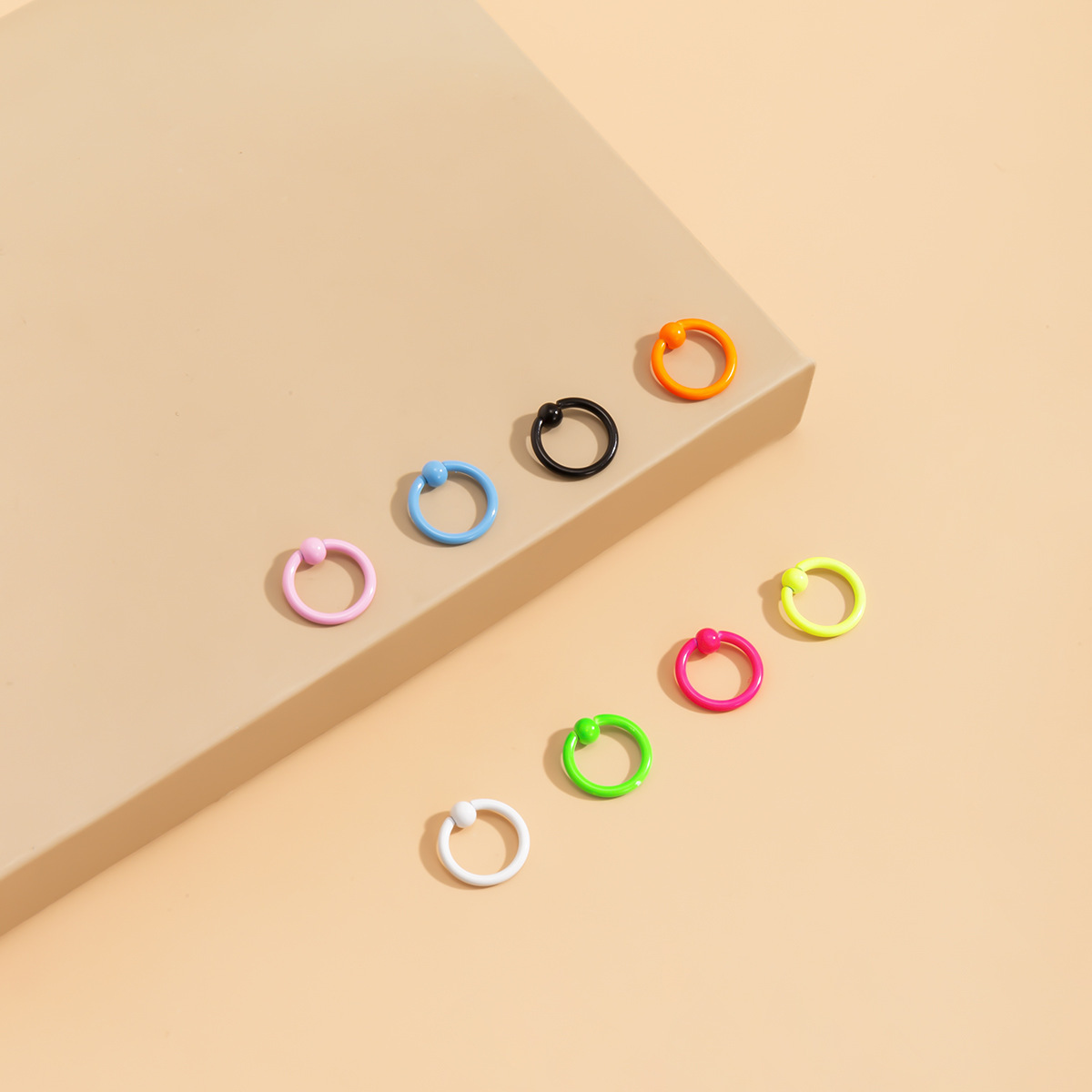 Bright Candy-Colored Stainless Steel and Spray Painted Nose Ring for Piercings