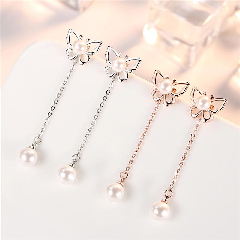 Long Tasseled Butterfly Pearl Earrings for Korean Inspired Outfit
