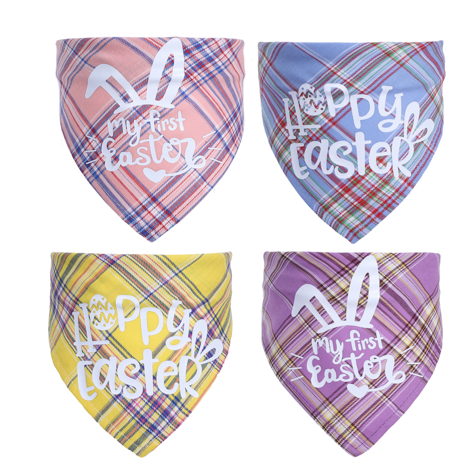 Cute Easter Plaid Designed Triangular Saliva Towel for Cats and Dogs