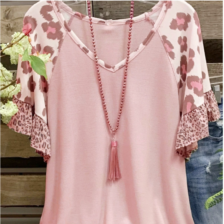 Casual V-Neck Bell Sleeve Top for a Relaxing Wear