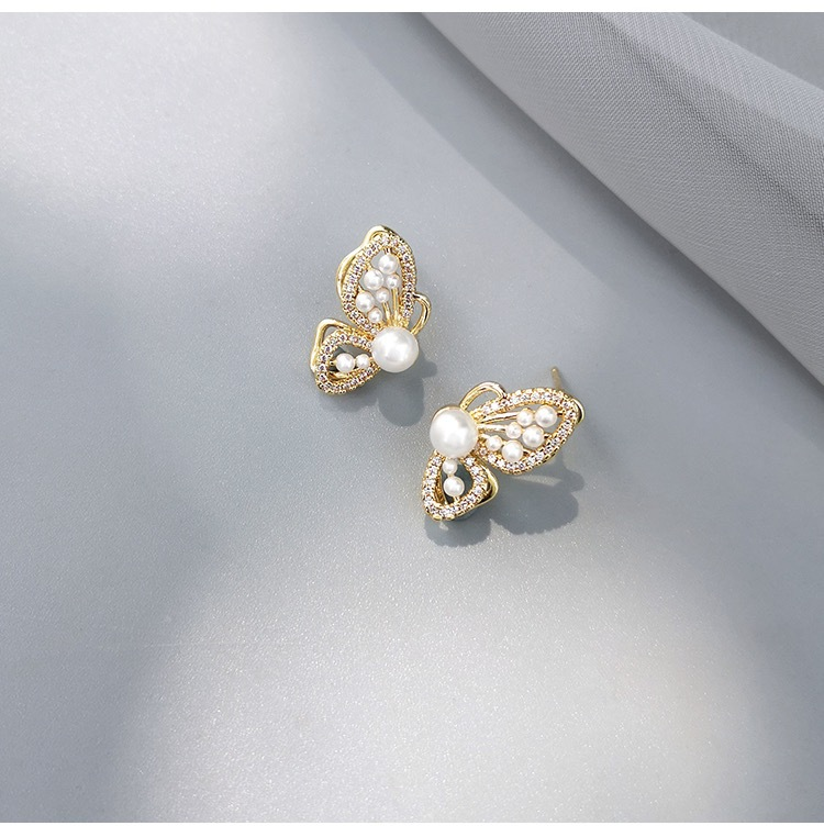 Sparkly Copper Plated with Real Gold Butterfly Earrings for Date Night