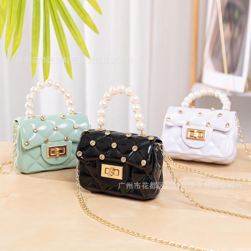 Mini Faux Pearl Chain Jelly Bag for Children's Fashion