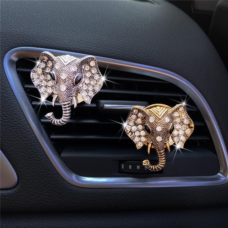 Elegant Crystal Diamond Elephant Clip for Car Interior Decorations