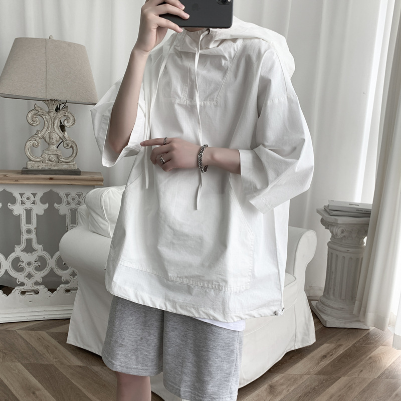 Hip Hop Style Hooded Shirt for Casual and Streetwear