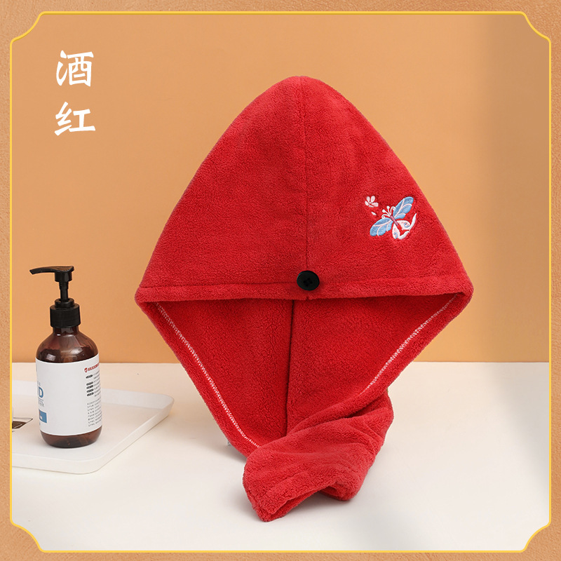 Soft Velvet Shower Hair Cap with Butterfly Embroidery for Quick-Dry Hairs