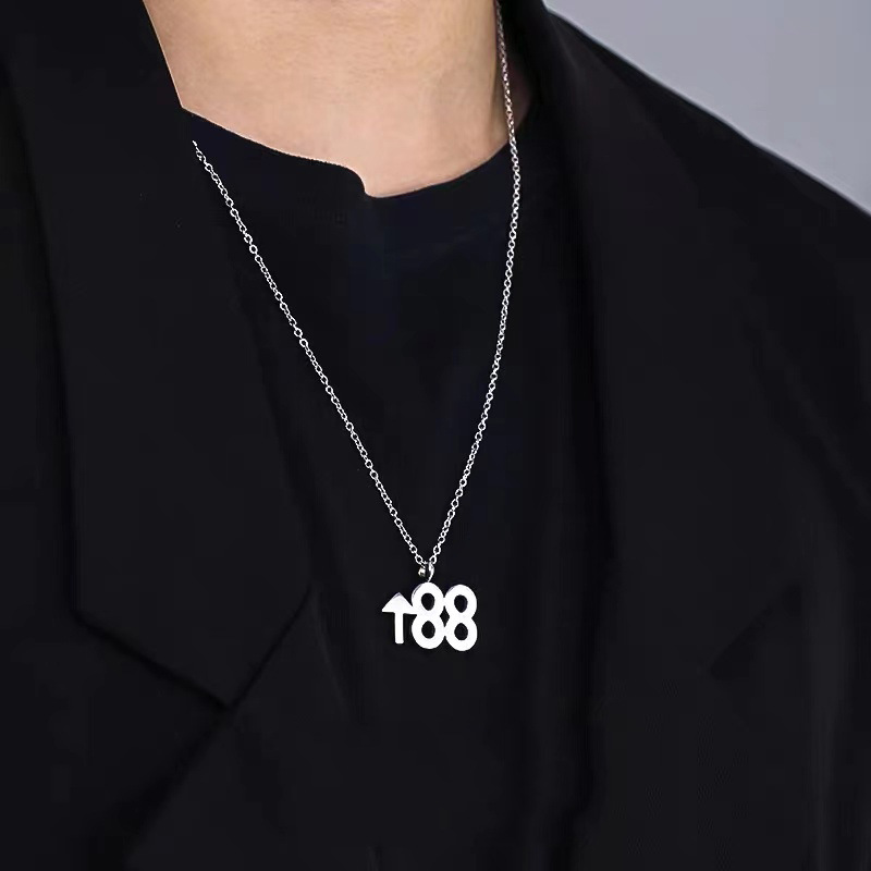 """Cool """"88 UP"""" Stainless Steel Chain Necklace for Hippie Outfits"""