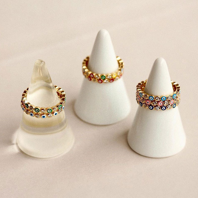 Stylish Gold-Toned Evil Eye Design Faux Diamond Eternity Ring for Gothic Fashion Styles
