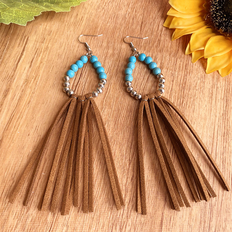 Beaded Wire Hook Rattan Tassel Earrings for Traditional Costumes