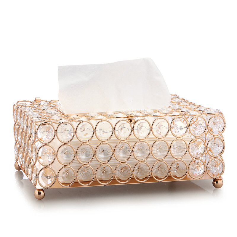 Luxurious Crystal Pen and Tissue Holder for Organize Room