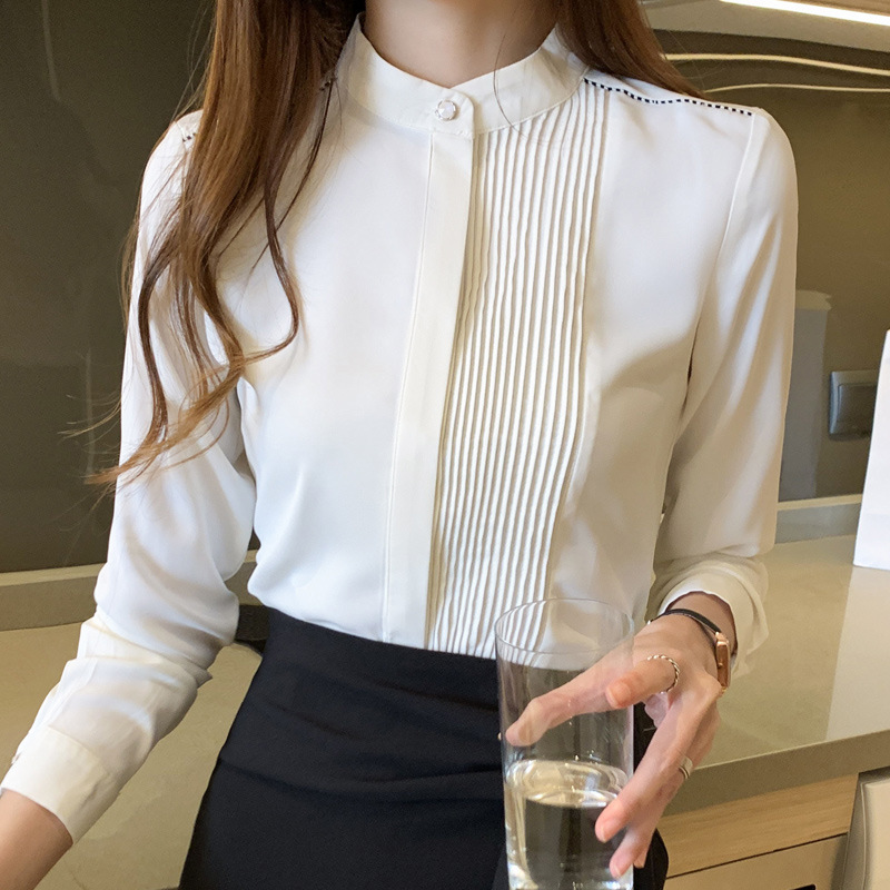 Minimalist Pleated Design Band Collar Long-Sleeved Button-Up for Sleek Fits