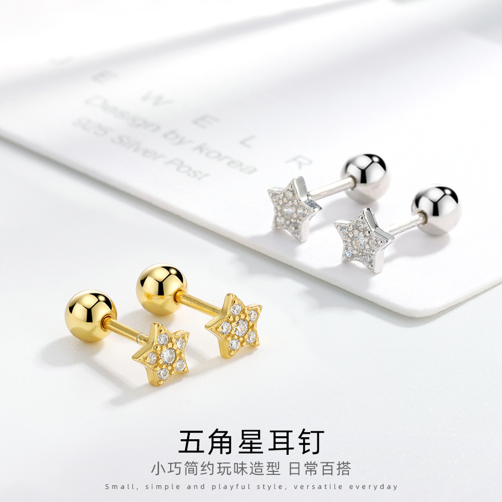 Minimalist Embellished Star Stud Earrings for Matching Dainty Outfits