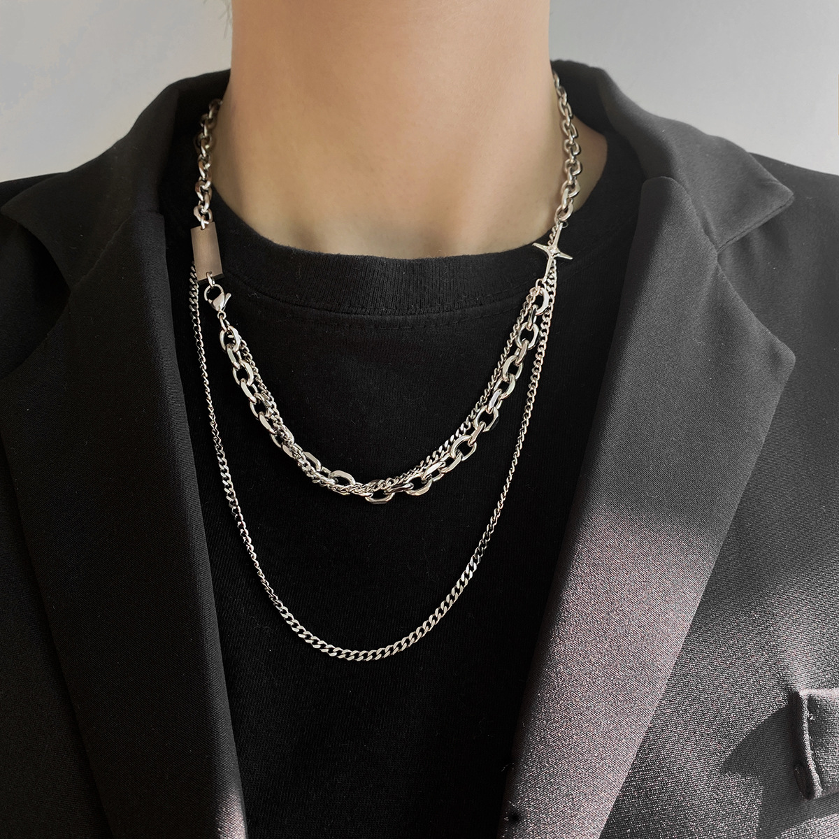 Finely Finished Double-Layered Chain Necklace for Hipster Grunge Outfits