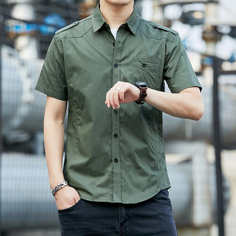 Basic One Pocketed Short Sleeved Shirt for Street Fashion