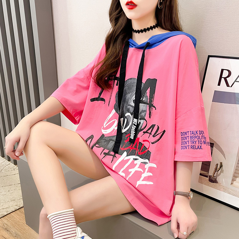 Vibrant Loose-Fit Hooded Graphic Shirt for Teenage Girls