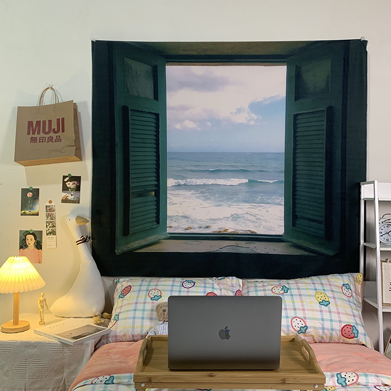 Realistic Window and Sea View Tapestry for Bedroom