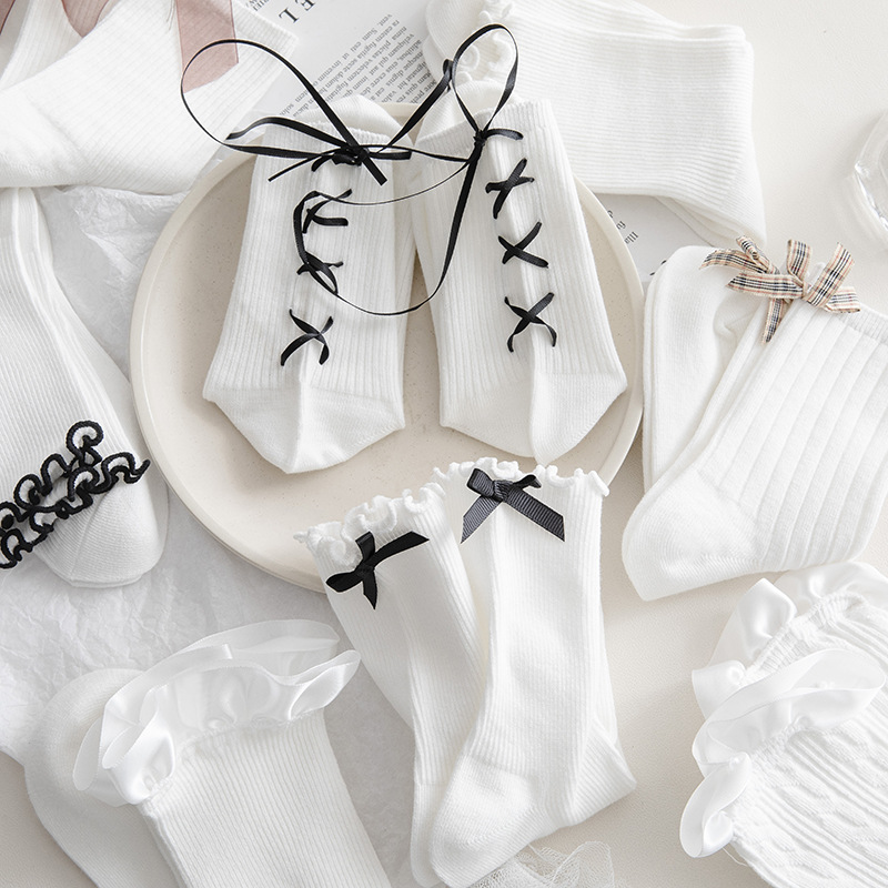 White Cotton Lolita Socks for Retro Inspired Outfit