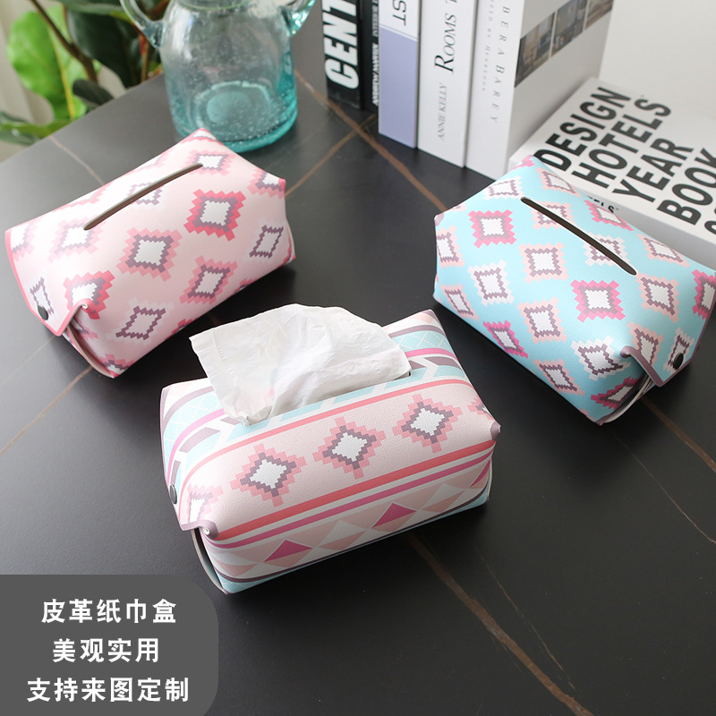 Diamond Shape Design Synthetic Leather Tissue Box Cover for Birthday Giftings