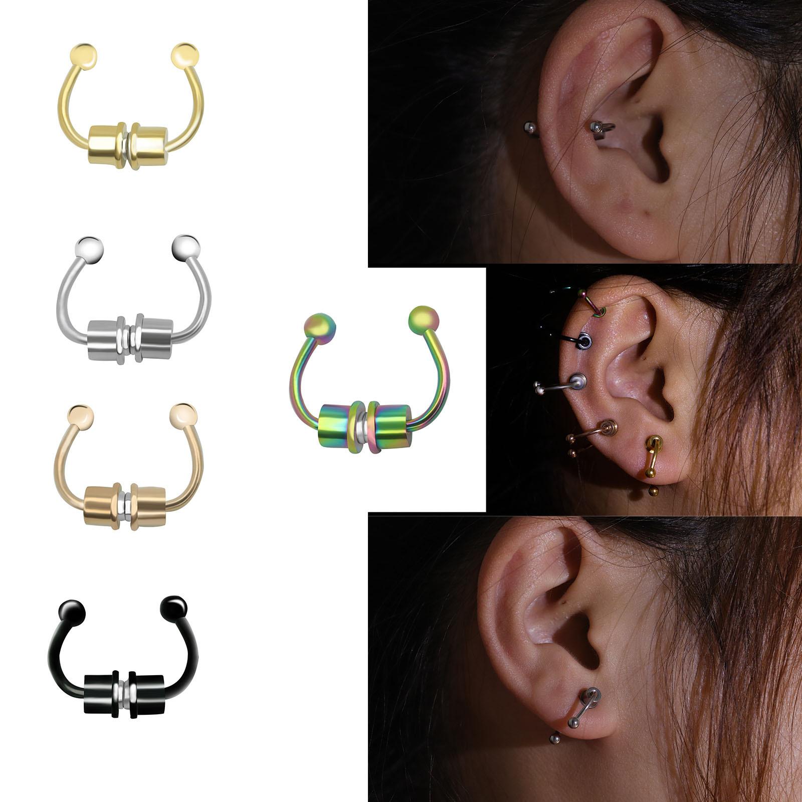 Stylish Titanium Steel Ear Stud Horseshoe Piercings for Street Fashion