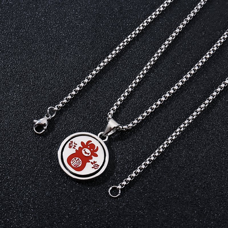 Rockish Double-Sided Cow Design Necklace for Rotating Pendant Accessory