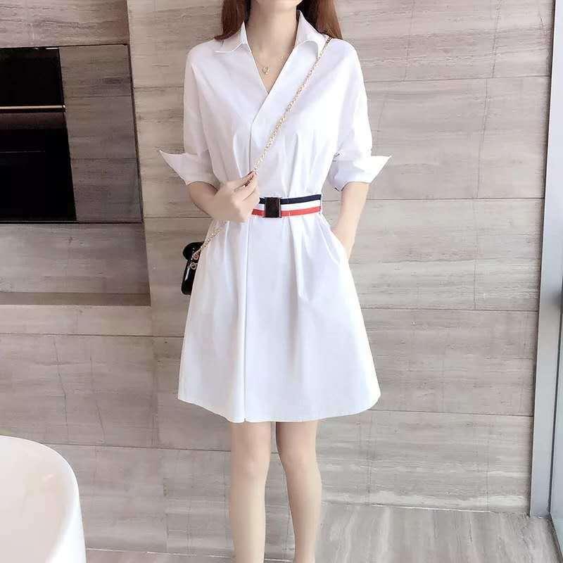 Classic White V-Neck Short Sleeves Dress for Formal Dinner Parties