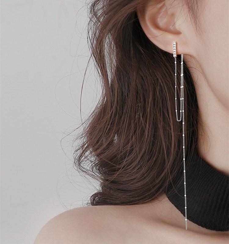 Comely Alloy Asymmetrical Tassel Earrings for Chic Looks