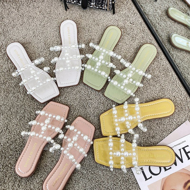 Simple Faux Pearl String Slippers for Casual Wear