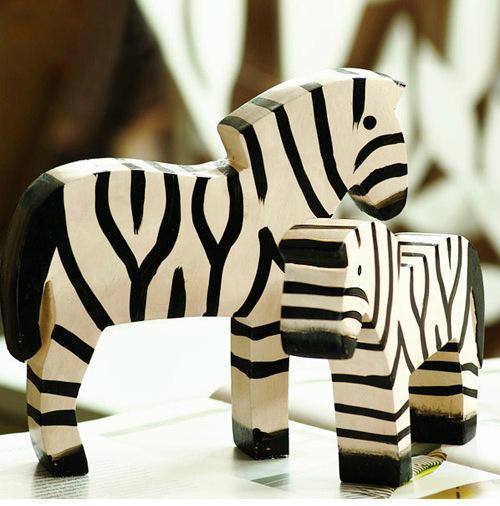 Creative Zebra Wooden Toy for Children's Bedroom Tabletop Decoration