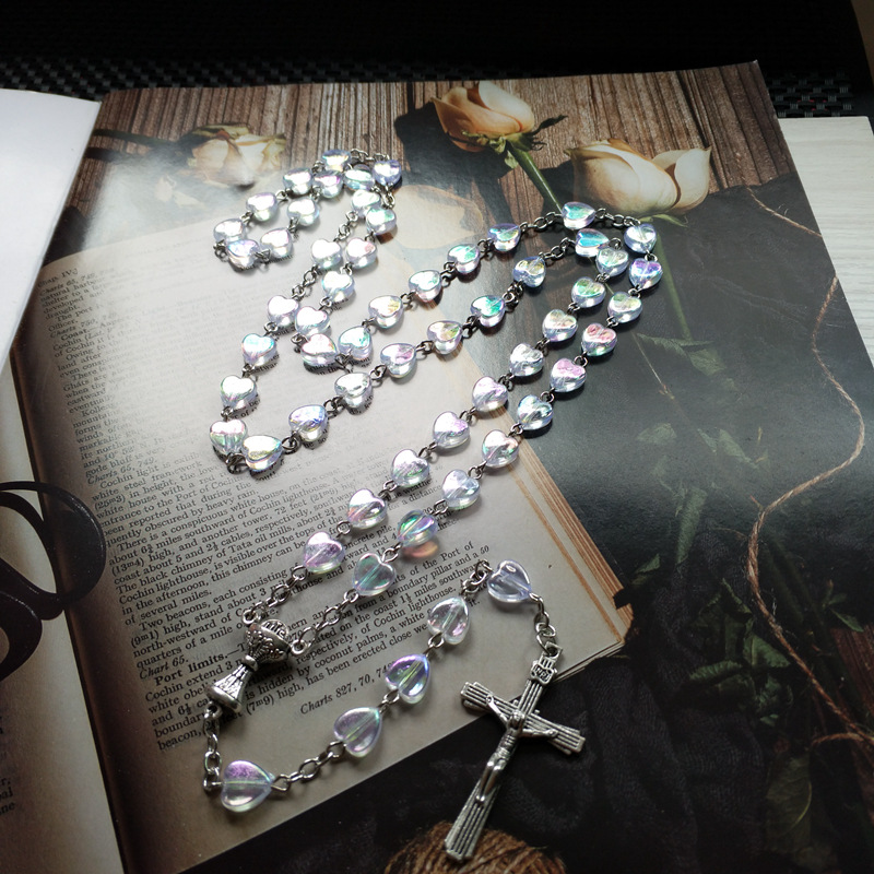 Serene Heart-Shaped Beads Rosary for Religious Gatherings