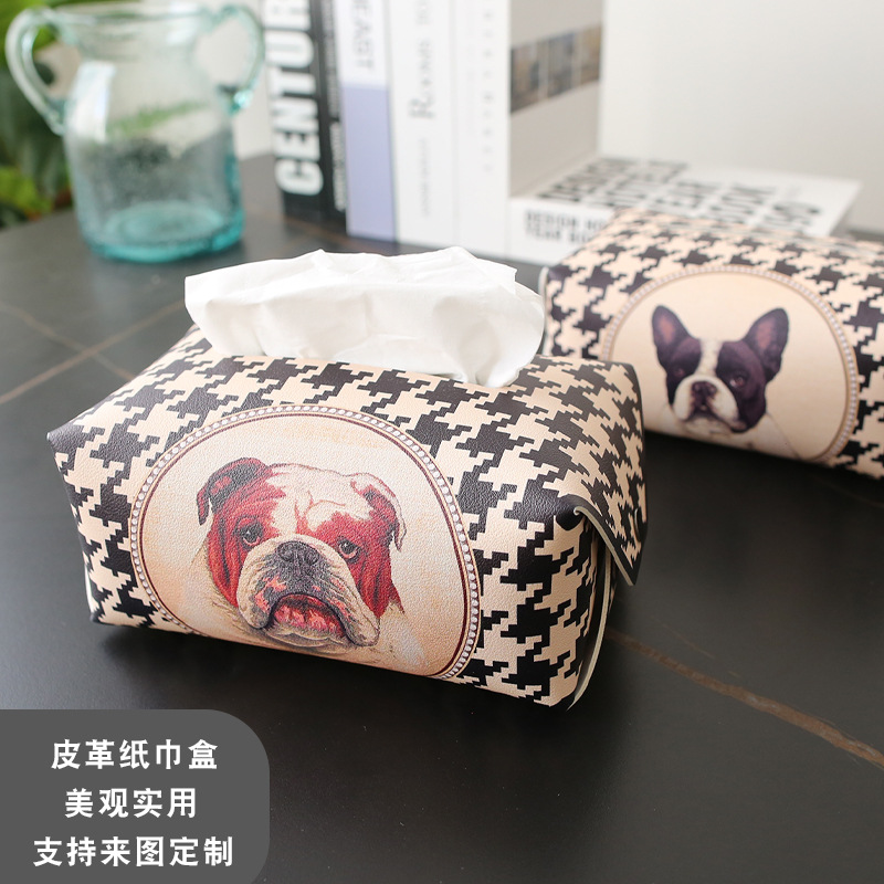 Aesthetic Dog Print Synthetic Leather Tissue Box Cover for Car Paper Towel Storage