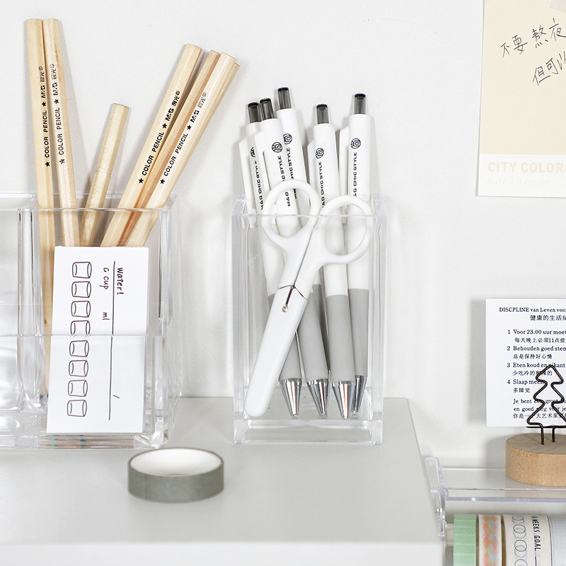 Transparent Acrylic Pen and Brush Holder for Simple Tabletop Storage