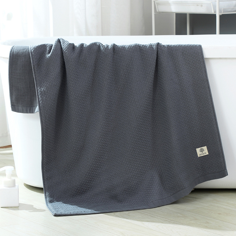 Monochrome Absorbent Cotton Towels for Daily Bath Essentials