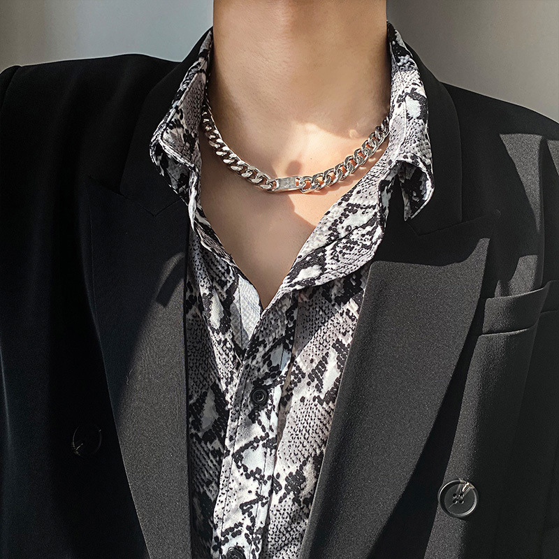 Thick Curb Chain Alloy Necklace for Night Outs