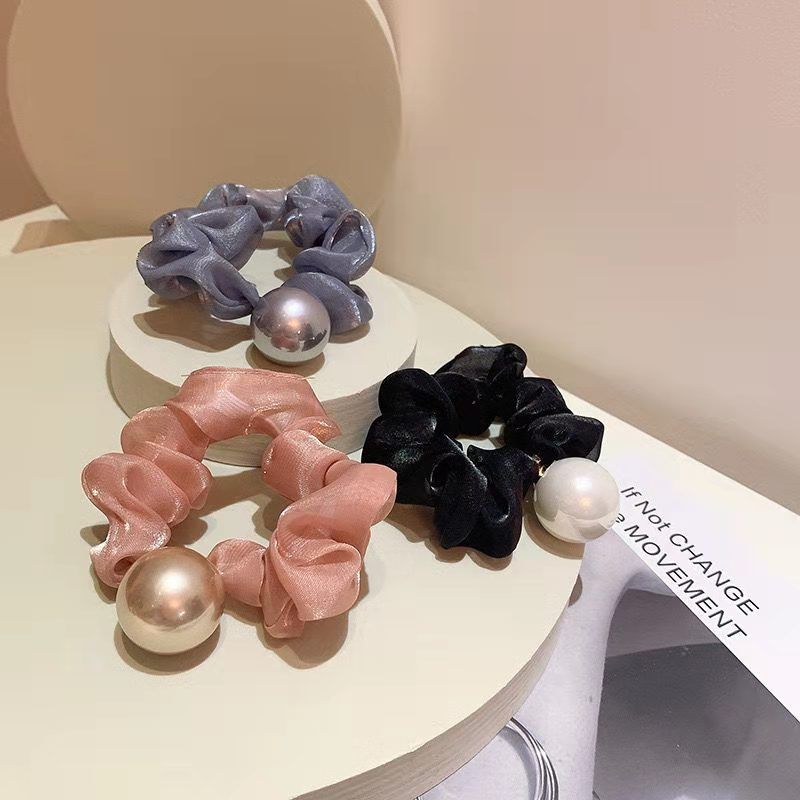 Chic Scrunchie with Large Faux Pearl for Cute Hairstyles