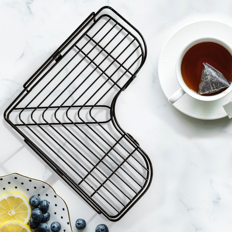 Multifunctional Wall-Mounted L-Shaped Rack for Kitchen Spices Storage